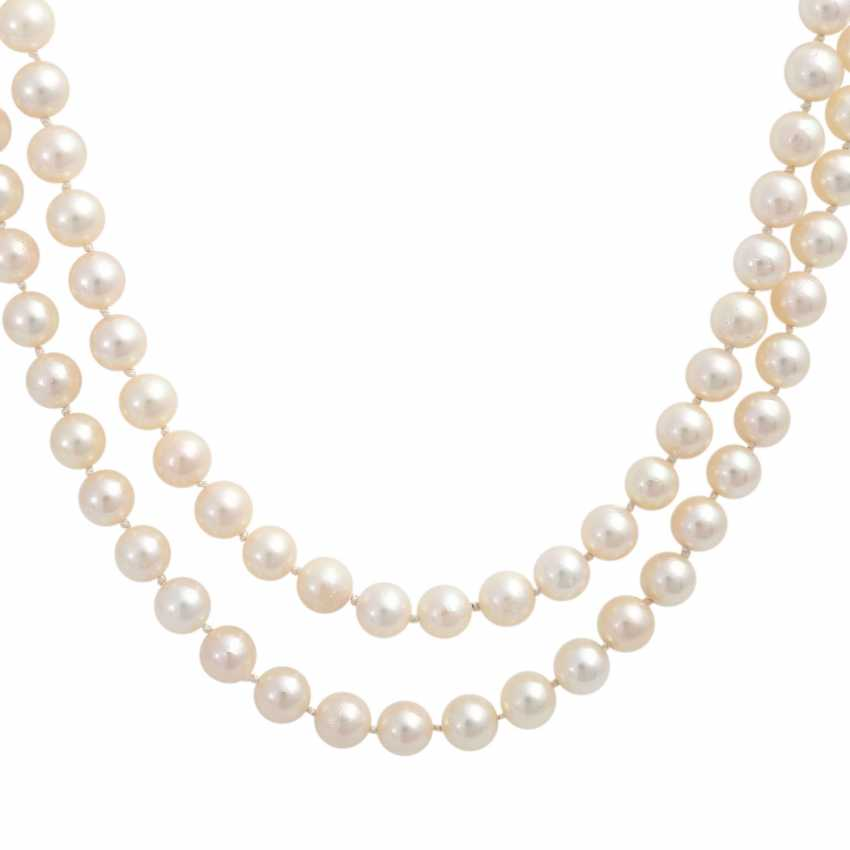 Pearl necklace, 2-row, Clasp with blue-gray Mabeperle - photo 2