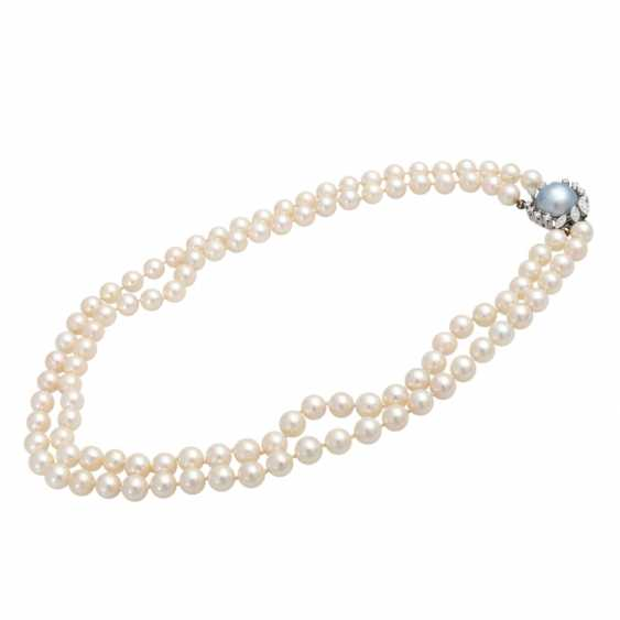 Pearl necklace, 2-row, Clasp with blue-gray Mabeperle - photo 3