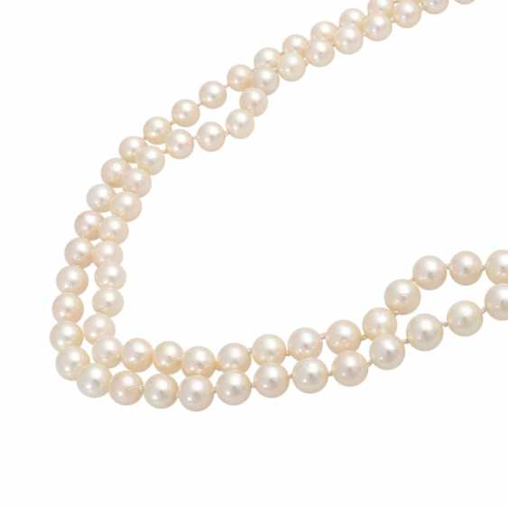 Pearl necklace, 2-row, Clasp with blue-gray Mabeperle - photo 4