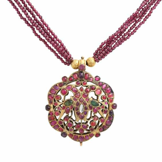 5-row necklace of Garnet beads with ornamental pendants - photo 2