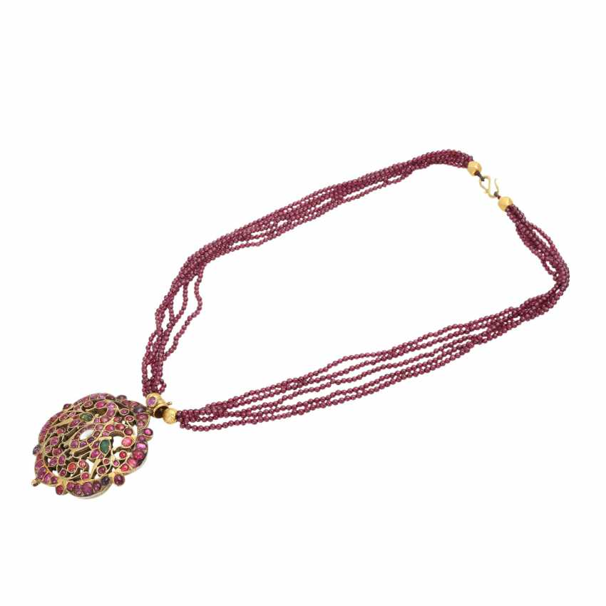 5-row necklace of Garnet beads with ornamental pendants - photo 3