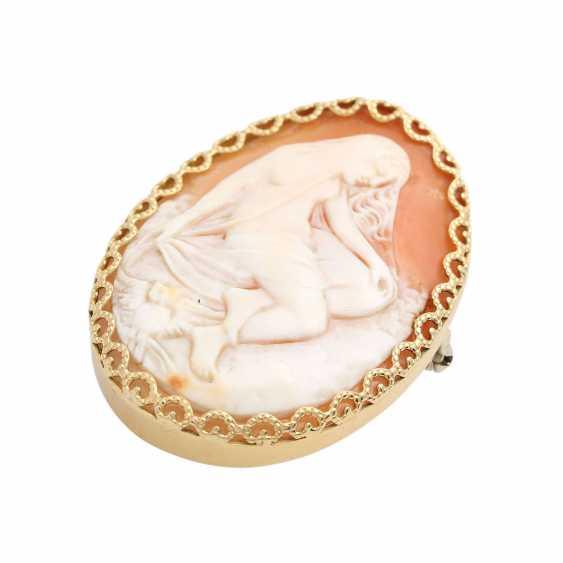 Pendant/brooch with antique Muschelkamee, - photo 3