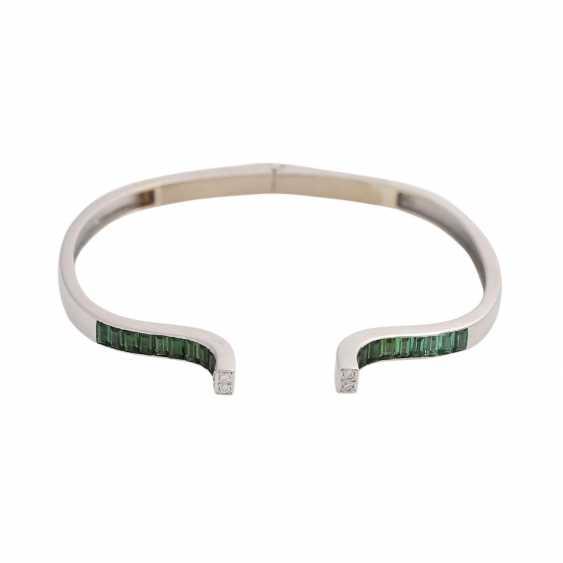 Bracelet with green tourmalines and diamonds - photo 1