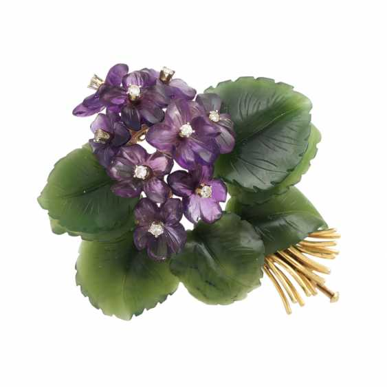 """Brooch """"violet bouquet"""" made of Jade and Amethyst, - photo 1"""