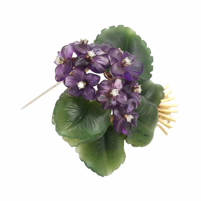 """Brooch """"violet bouquet"""" made of Jade and Amethyst, - photo 2"""
