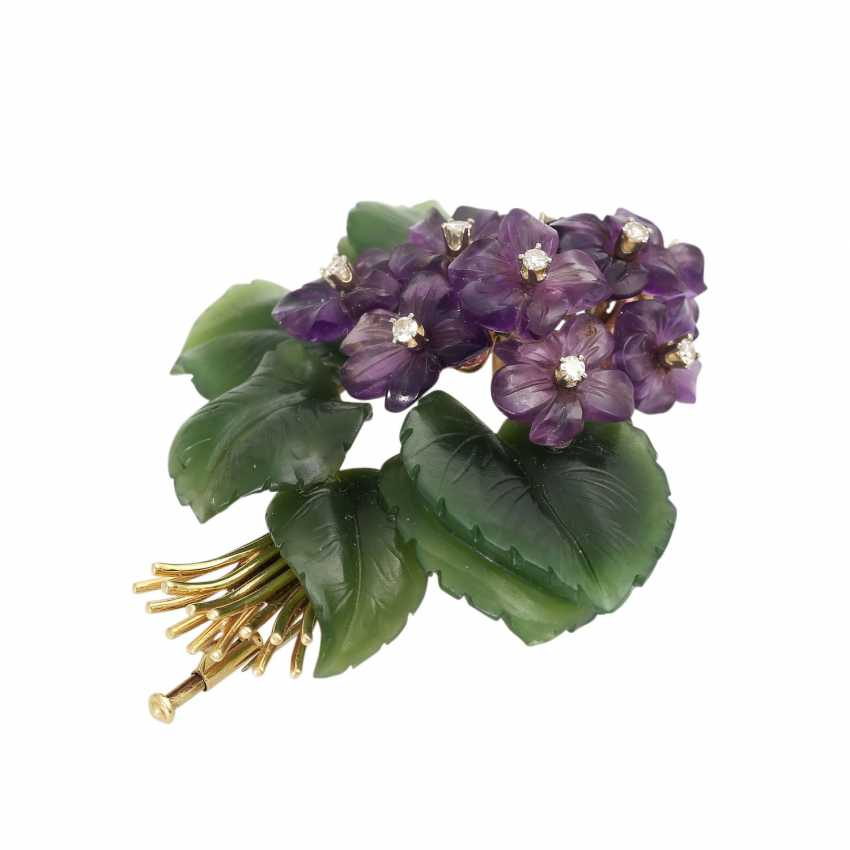 """Brooch """"violet bouquet"""" made of Jade and Amethyst, - photo 3"""