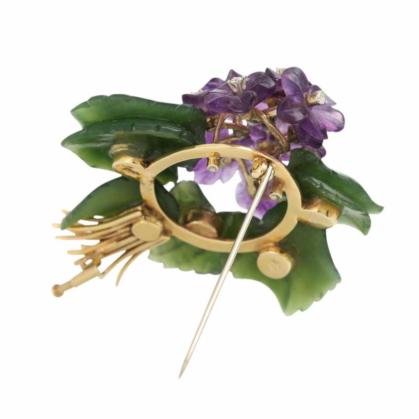 """Brooch """"violet bouquet"""" made of Jade and Amethyst, - photo 4"""