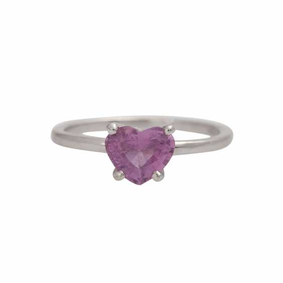 Ring with a pink sapphire, heart,faceted, shaped, - photo 1