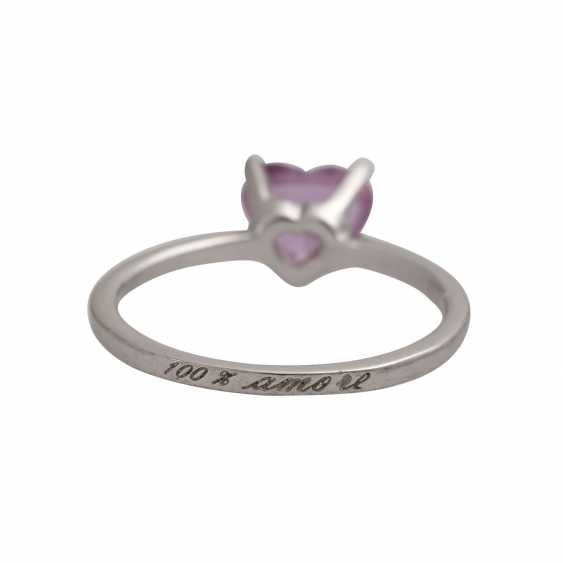 Ring with a pink sapphire, heart,faceted, shaped, - photo 4