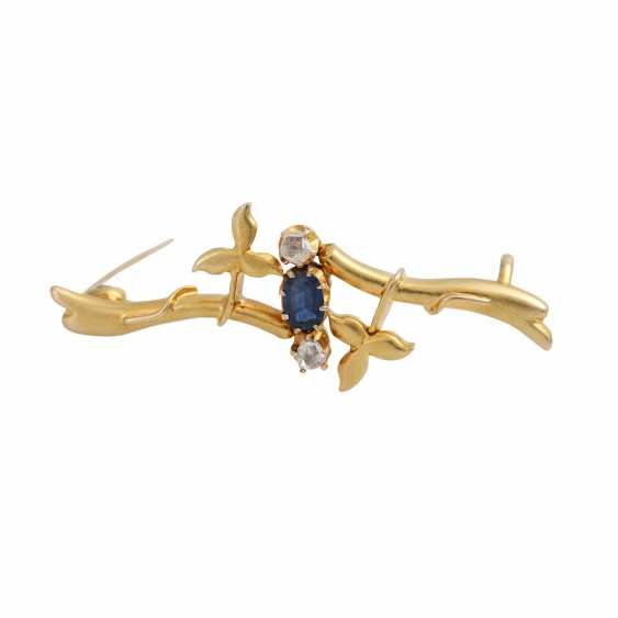 Art Nouveau brooch with sapphire and 2 diamond roses - photo 1