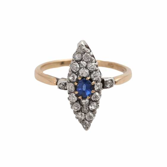 Marquis ring set with sapphire and 22 old European cut diamonds, - photo 1