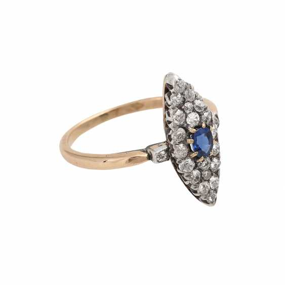 Marquis ring set with sapphire and 22 old European cut diamonds, - photo 2