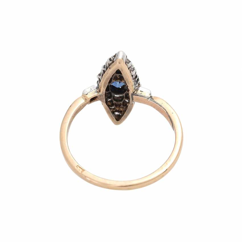 Marquis ring set with sapphire and 22 old European cut diamonds, - photo 4
