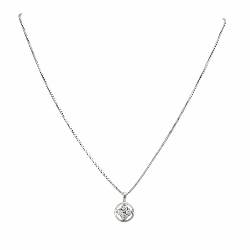 Chain and pendant with diamonds together approx 0.42 ct, - photo 1