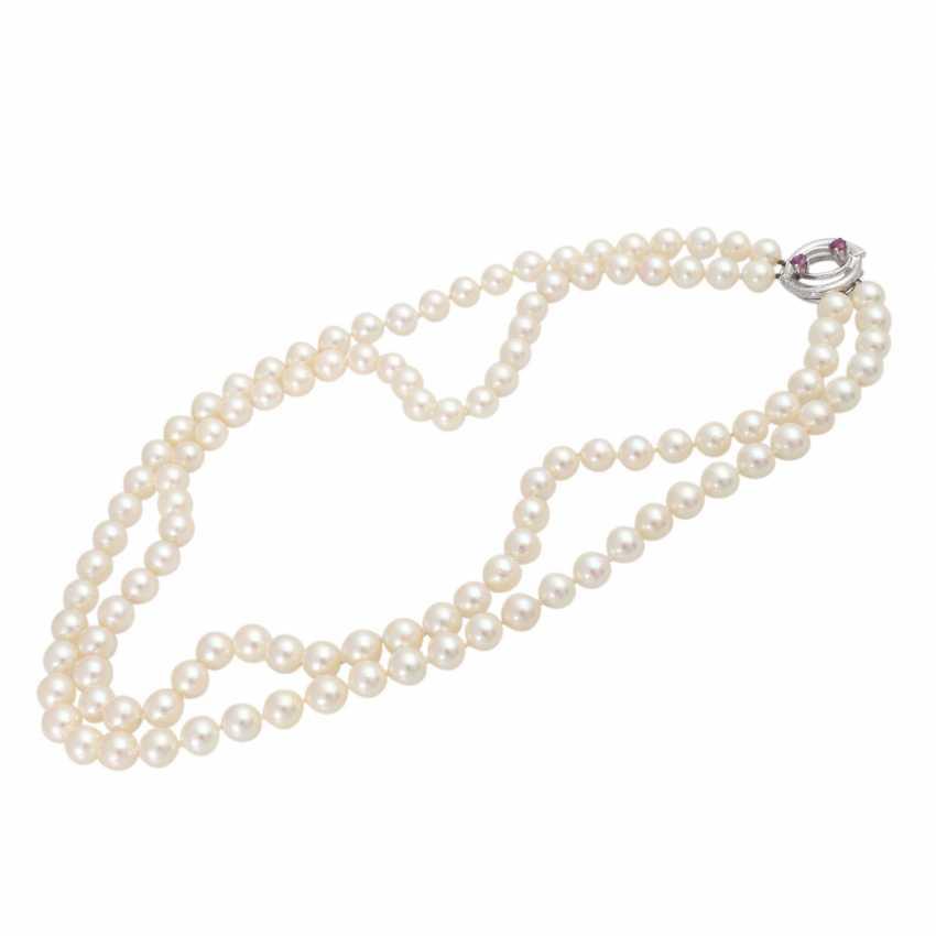 Akoya pearl necklace 2-row, - photo 3