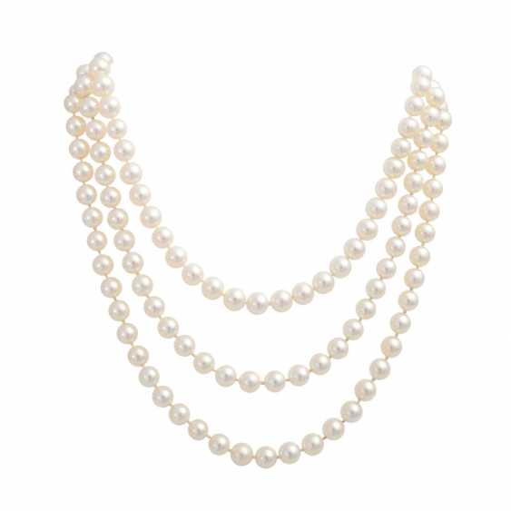 3-row necklace of cultured pearls - photo 1