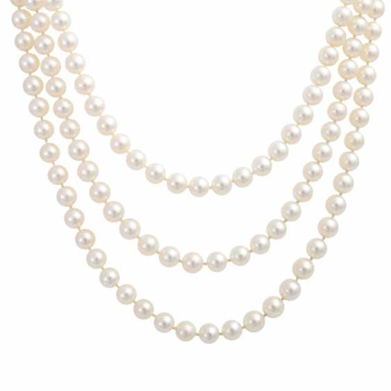 3-row necklace of cultured pearls - photo 2