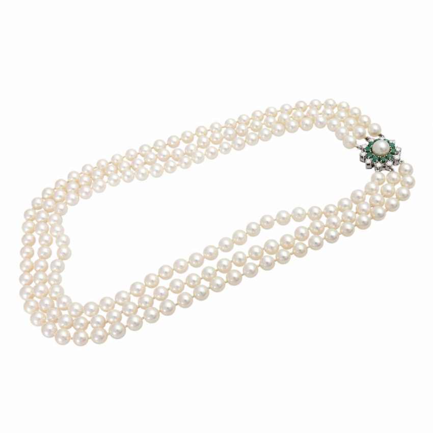 3-row necklace of cultured pearls - photo 3