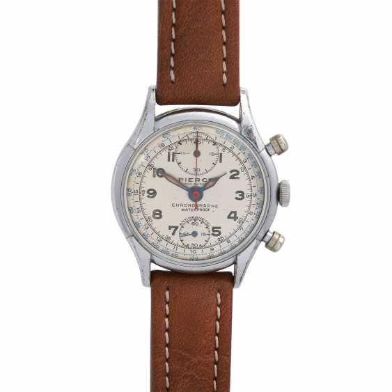 PIERCE Vintage Chronograph, CA. 1950s. Housing-plated steel Nickel-plated/ground. - photo 1