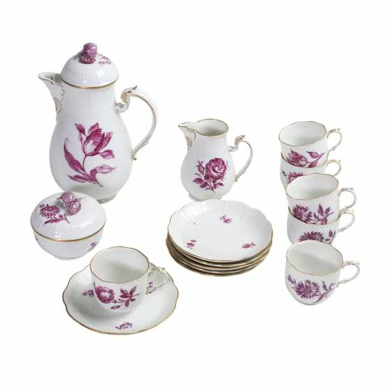 LUDWIGSBURG mocha service for 6 people 'purple flower', 20. Century. - photo 1