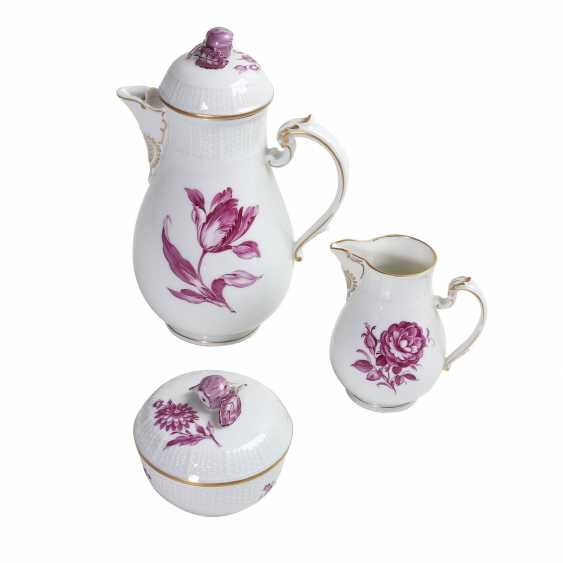 LUDWIGSBURG mocha service for 6 people 'purple flower', 20. Century. - photo 2