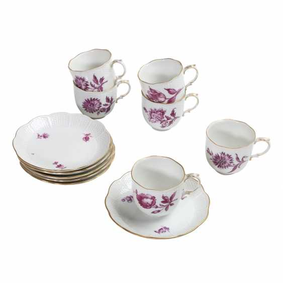 LUDWIGSBURG mocha service for 6 people 'purple flower', 20. Century. - photo 3