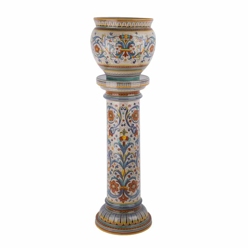 DERUTA ITALY floral column with Cachepot, 20. Century - photo 3