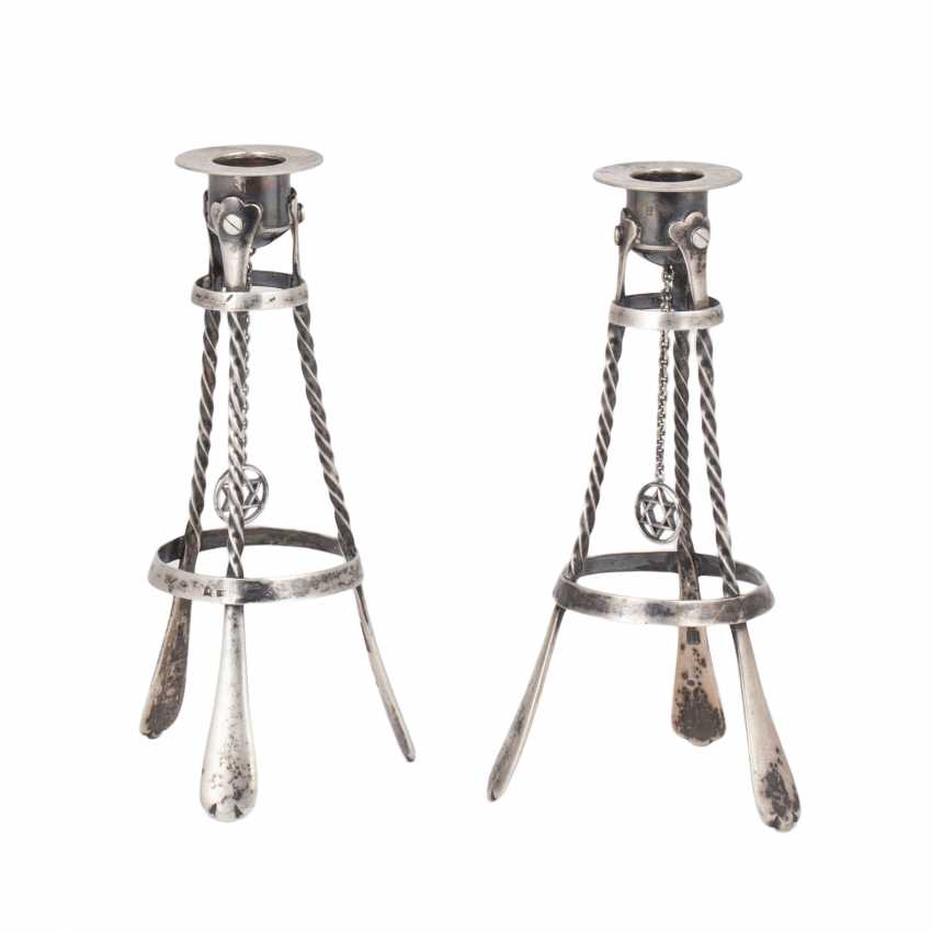 Interesting pair of Shabbat (Sabbath) candlesticks - photo 1