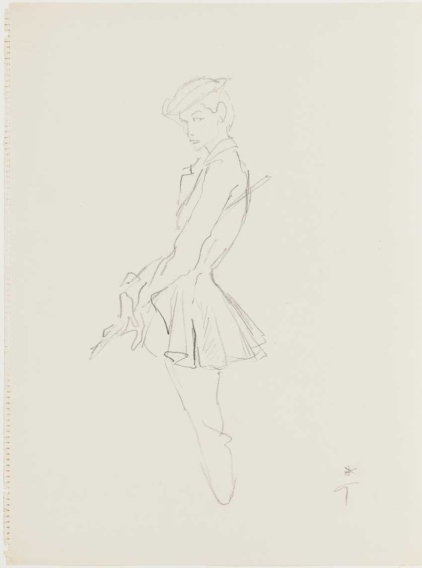 Gruau, René (1909 Rome - in 2004, ibid.). Fashion drawing for Jacques Fath. To 1951/52 - photo 1