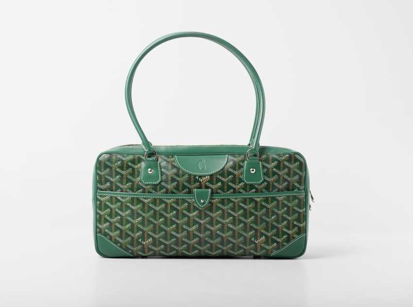 "Handbag, ""Bowling bag"". Goyard studios for Goyard, the Paris collection Goyard classic. Execution 2000/2004. Monogram Goyard Racing Green. - photo 1"