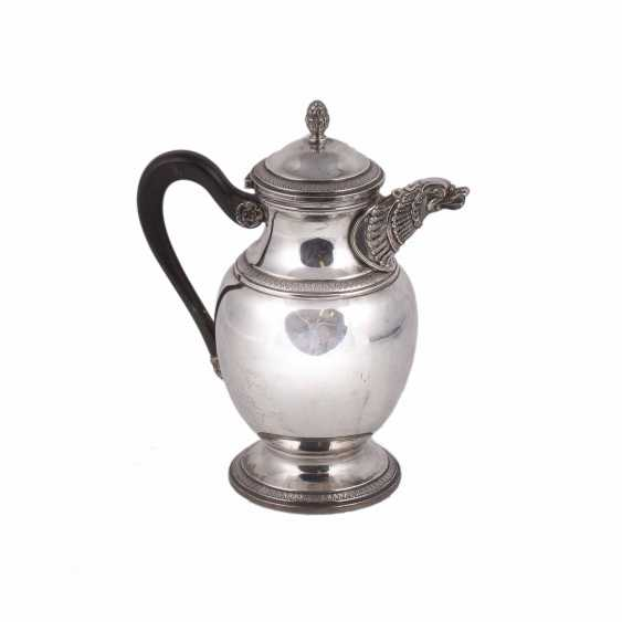 Silver coffee pot with wooden handles - photo 1