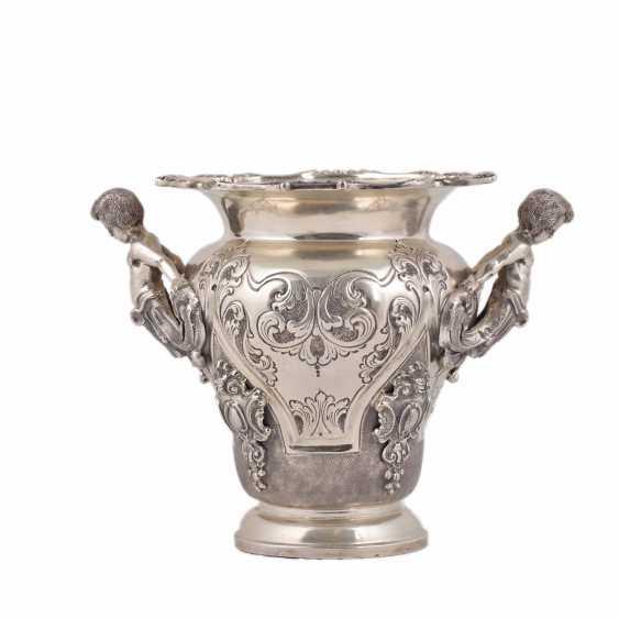 Elegant silver vase/planter with cast figures - photo 1
