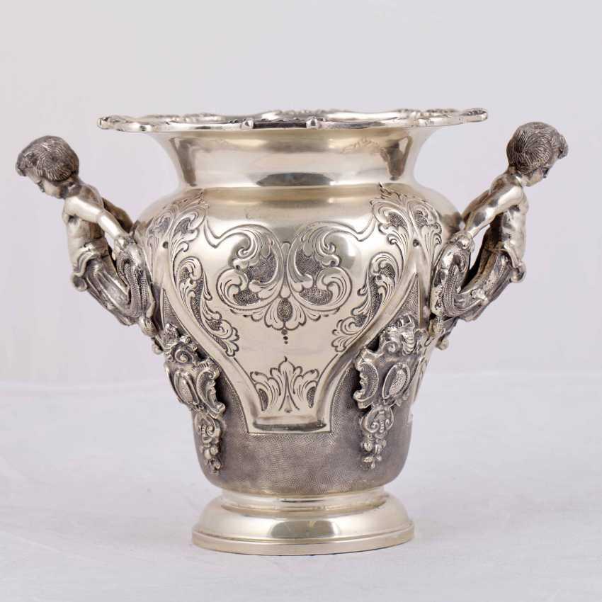 Elegant silver vase/planter with cast figures - photo 3