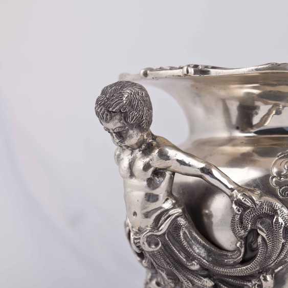Elegant silver vase/planter with cast figures - photo 5