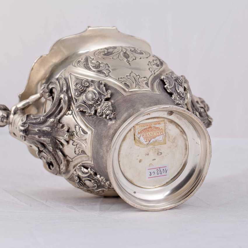 Elegant silver vase/planter with cast figures - photo 7