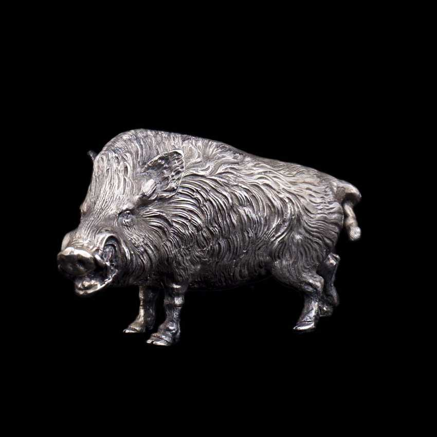 Silver figurine of a wild boar - photo 1