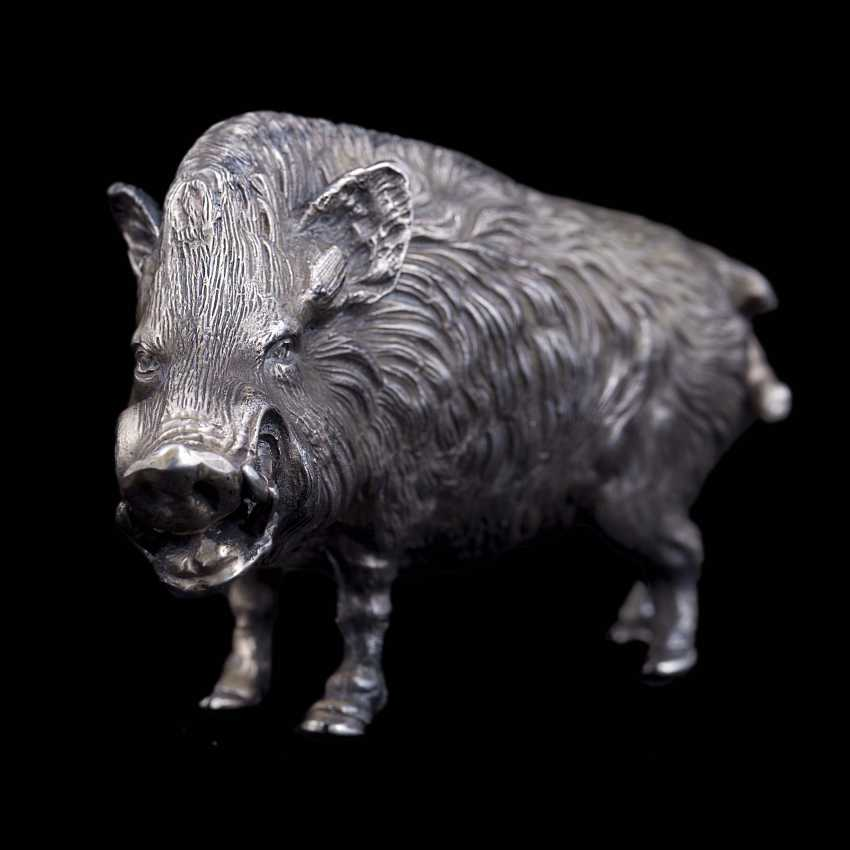 Silver figurine of a wild boar - photo 2