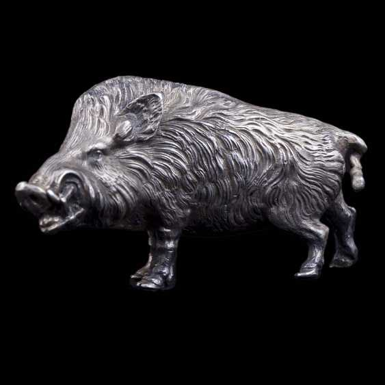 Silver figurine of a wild boar - photo 3