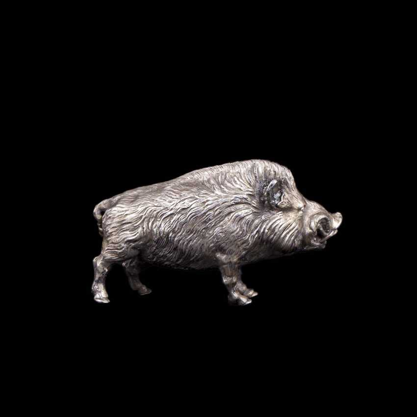 Silver figurine of a wild boar - photo 6