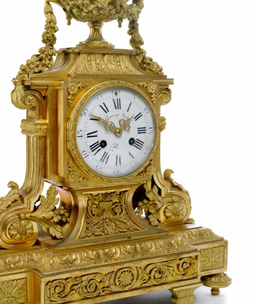 Magnificent mantel clock with two candelabra, France, Ref. E. Domange. Rollin, Paris, 2. Half of the 19th century. Century