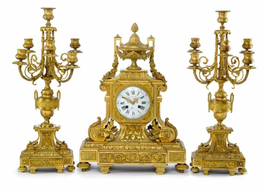Magnificent mantel clock with two candelabra, France, Ref. E. Domange. Rollin, Paris, 2. Half of the 19th century. Century - photo 1