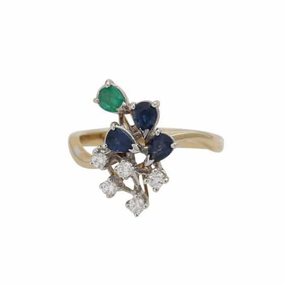 Ring with 5 diamonds, together approx. 0,1 ct, - photo 1