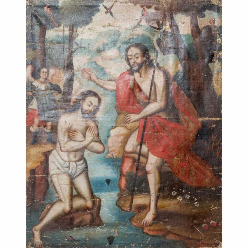 """Peintre de l'ÉCOLE DE CUSCO, au Pérou, 18./19. Siècle, """"Le Baptême Du Christ"""", - photo 2"""