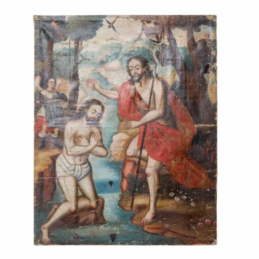 """Peintre de l'ÉCOLE DE CUSCO, au Pérou, 18./19. Siècle, """"Le Baptême Du Christ"""", - photo 3"""