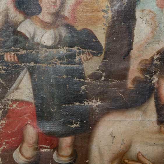 """Peintre de l'ÉCOLE DE CUSCO, au Pérou, 18./19. Siècle, """"Le Baptême Du Christ"""", - photo 5"""