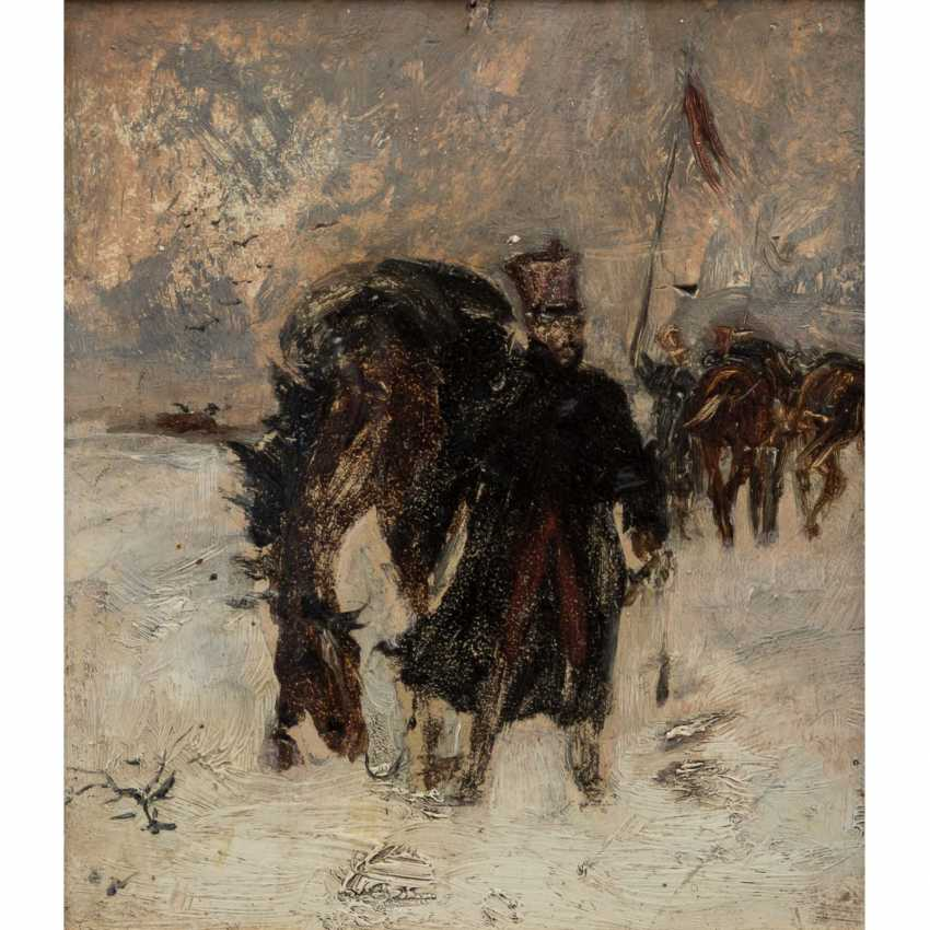 "PAINTER 19. Century ""of the Russian soldiers, with their horses in a snowy landscape"", - photo 1"