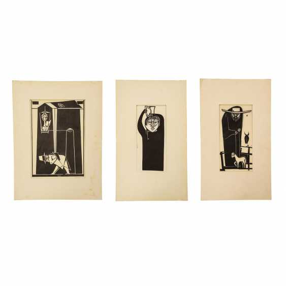 ARTISTE du 20ème siècle. Siècle, 3 Linolschnitte, - photo 1