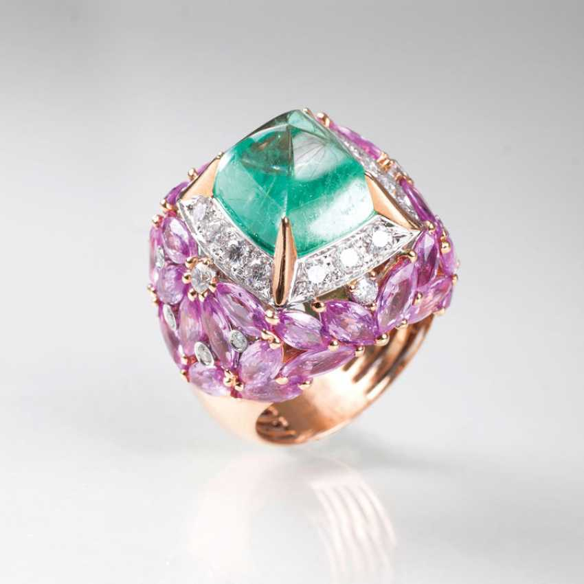 Exceptional Emerald-Sapphire-Diamond-Ring - photo 1