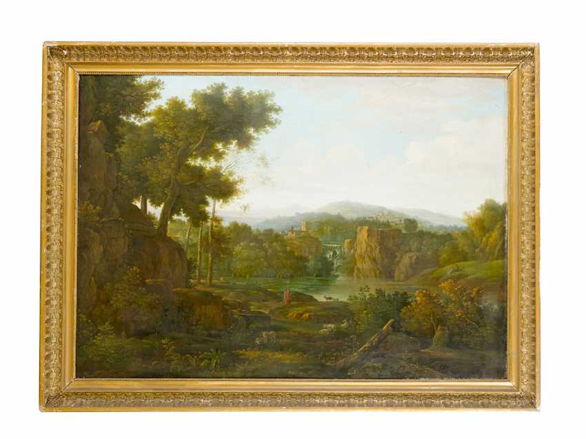 Hendrik Frans Van Lint (1684-1763)-attributed, Large classical Landscape with figures visiting a waterfall , Oil on Canvas, in classicistic frame - photo 1