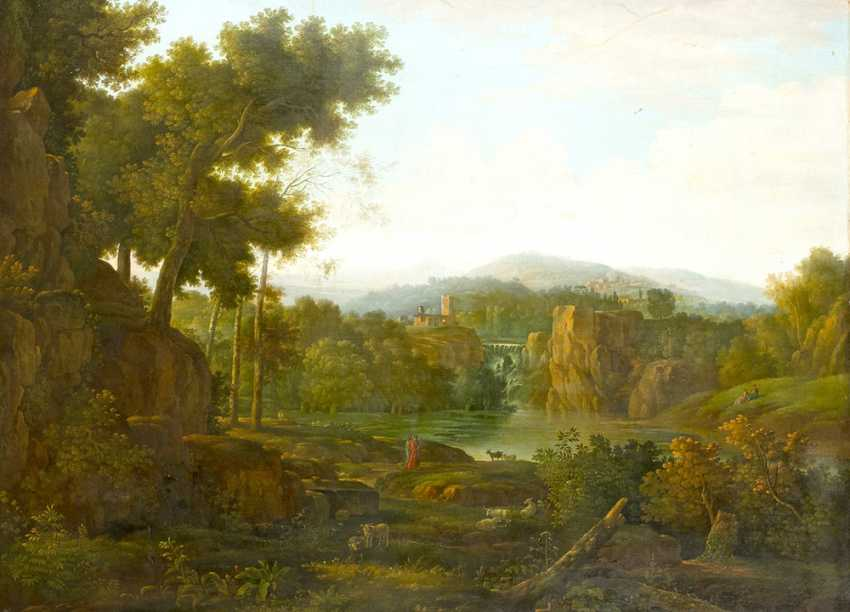 Hendrik Frans Van Lint (1684-1763)-attributed, Large classical Landscape with figures visiting a waterfall , Oil on Canvas, in classicistic frame - photo 2